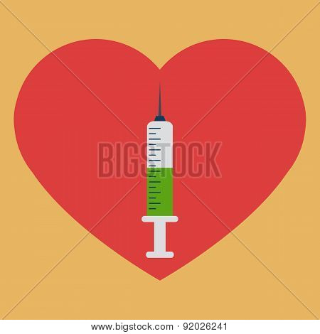 Heart with syringe