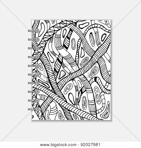 Notebook cover design with handmade snake pattern