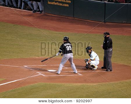White Sox Manny Ramirez Stands In The Batters Box With As Kurt Suzuki Catching
