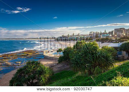 Hot sunny day at sandy Kings Beach Calundra, Queensland, Australia