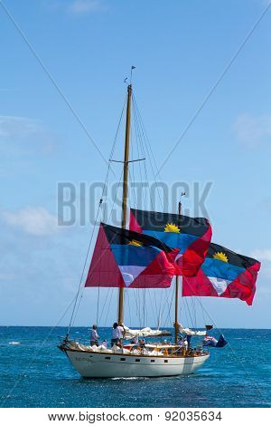 Antiguan Yacht With Three Large Flags #2
