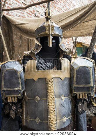 Fantasy medieval metal armor protective wear swordsman