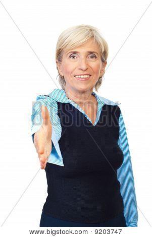 Handshake Senior Business Woman