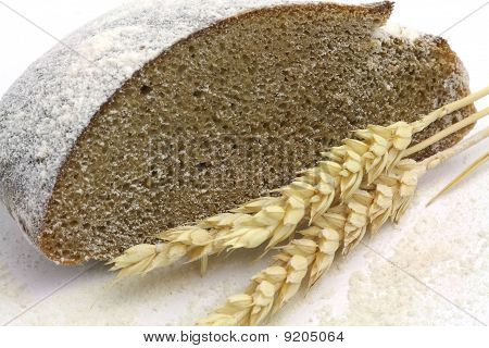 Rye Bread And Spikes Of Rye And Flour