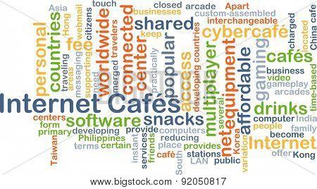 Background concept wordcloud illustration of internet cafes