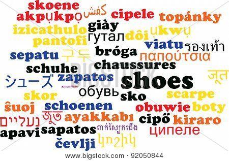 Background concept wordcloud multilanguage international many language illustration of shoes