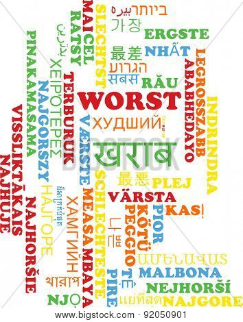 Background concept wordcloud multilanguage international many language illustration of worst