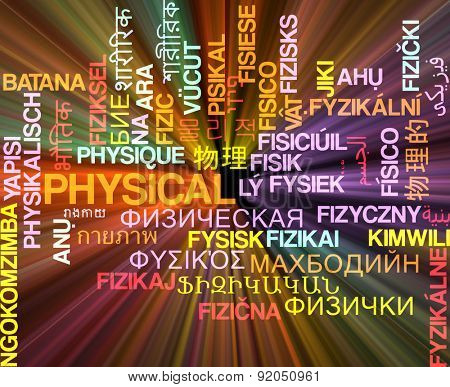 Background concept wordcloud multilanguage international many language illustration of physical glowing light