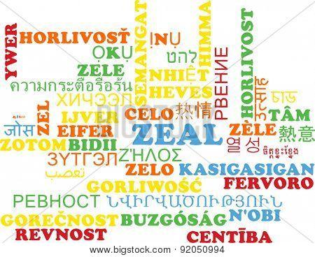 Background concept wordcloud multilanguage international many language illustration of zeal