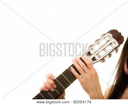 Music Instrument.  Girl Holding Guitar Isolated