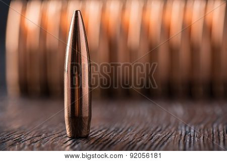 Macro shot of copper bullets