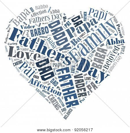 Word Cloud for Father's day that includes the word father in different languages in the shape of a heart