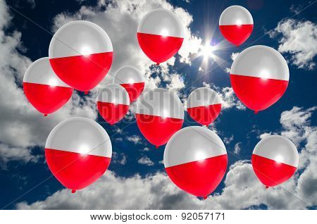 Many Balloons With Poland Flag On Sky