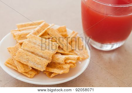 Snack On White Plate With Fruit Punch