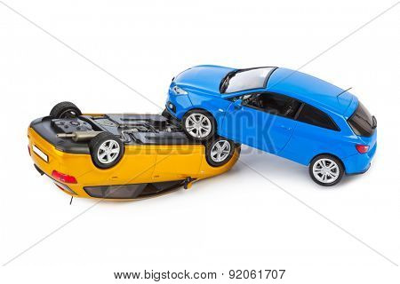 Crash toy cars isolated on white background