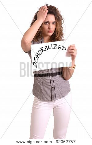 Uncomfortable Woman Holding Paper With Demoralized Text