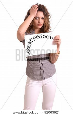 Uncomfortable Woman Holding Paper With Misunderstood Text