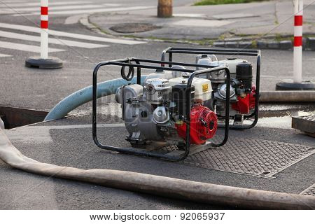 Pumping out water from a flooded area