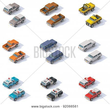 Set of the isometric SUVS and pickups