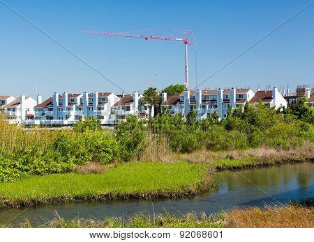Construction Crane Above Condos In Ocean City