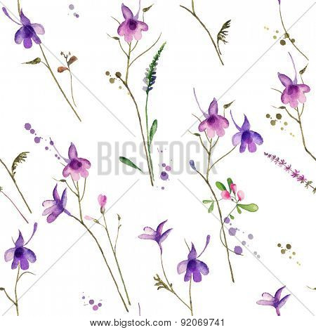 flower seamless background with fields plants