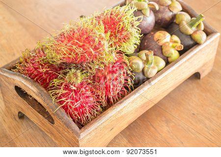 Fresh Rambutan And Mangosteen On Wooden Tray