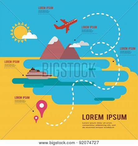 summer holidays infograpics, travel around the world map