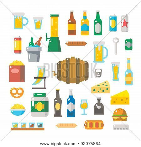 Flat Design Of Beer Items Set