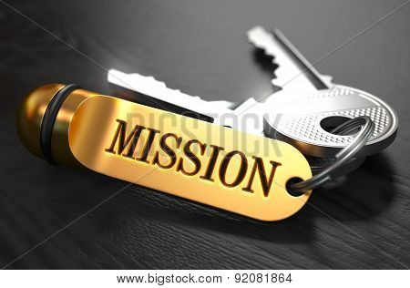 Keys With Word Mission On Golden Label.