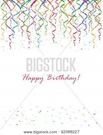 Background with Birthday streamers and confetti, illustration. poster