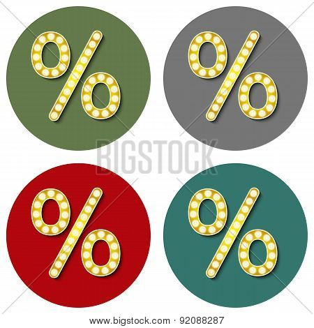 Volume Icons Symbol Percent Sign . Colorful Modern Style.