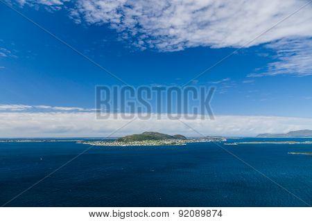 Blue sky over seascape of Atlantic ocean islands near Alesund town poster
