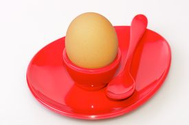 Egg Cup And Saucer - Red