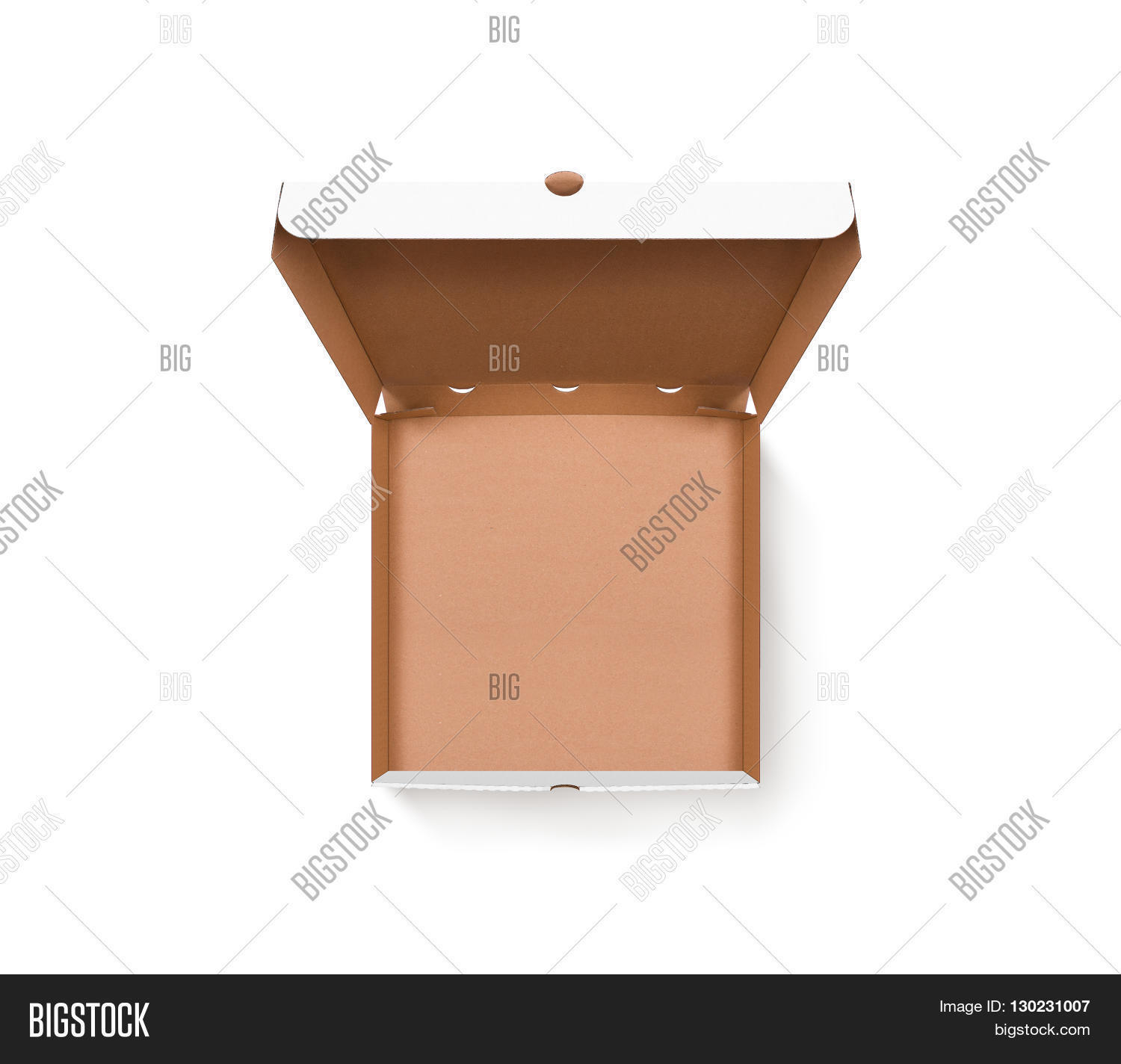 Blank Opened Pizza Box Design Mock Up Top View Isolated Carton Packaging Empty