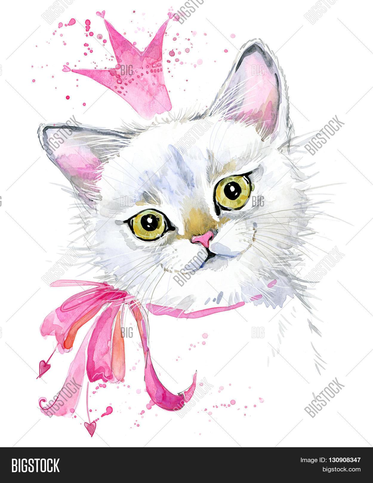 Cute Cat Watercolor Illustration Birthday Card T Shirt Print