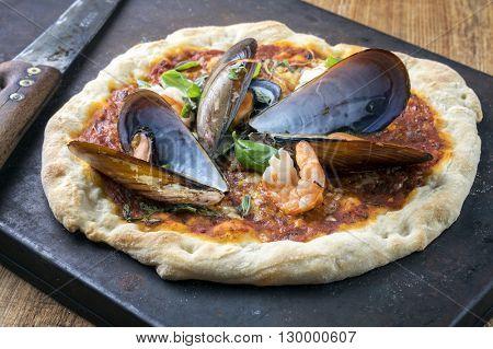 Seafood Pizza on Metal Sheet
