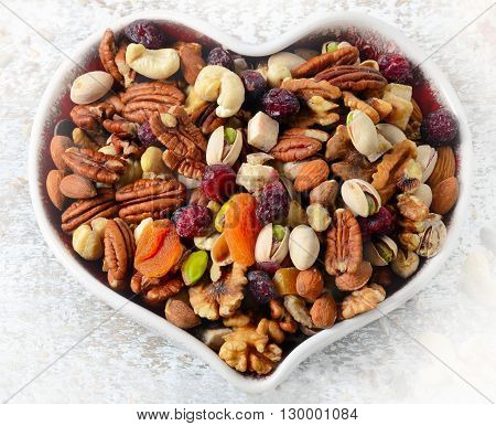 Nuts On Heart Plate. Healthy Diet Eating.