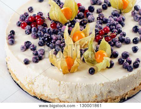 Cake With Cream Cheese And Fresh Berries.