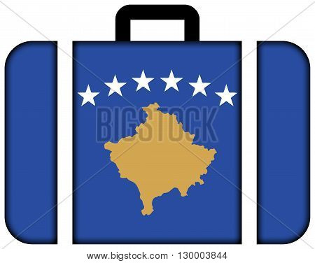 Flag Of Kosovo. Suitcase Icon, Travel And Transportation Concept