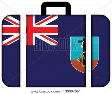Flag Of Montserrat. Suitcase Icon, Travel And Transportation Concept