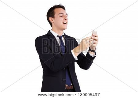 Young Caucasian Business Man Holding A Smart Phone