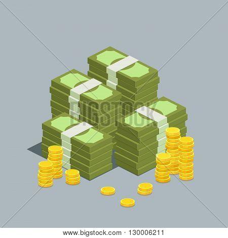Concept of big money. Big pile of cash. Hundreds of dollars. Vector isometric illustration.