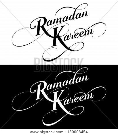 Ramadan Kareem set text greeting logo isolated on white black background hand drawn calligraphy lettering with vintage pattern. Vector illustration eps 10