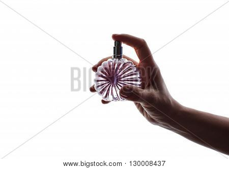 Hands And Perfume Isolated On White Background