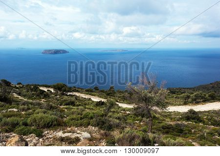 The landscape with the sea and a volcanic Greek island. View from Nisyros Greece