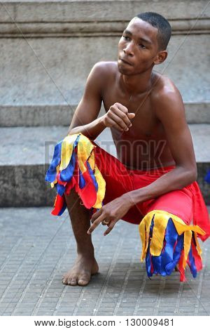CARTAGENA COLOMBIA - FEB 04 : Street performer in Cartagena Colombia on February 04 2016. The historic port city Cartagena is UNESCO World Heritage Site since 1984.