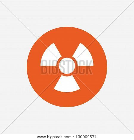 Radiation sign icon. Danger symbol. Orange circle button with icon. Vector