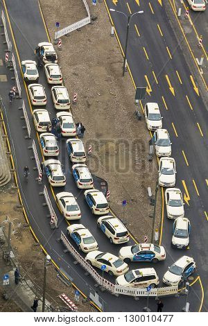 Cologne, Germany - May 17: This is top view of the parking taxis near the tower Panorama-Turm May 17, 2013 in Cologne, Germany.