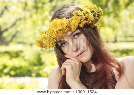 sexy young woman with wreath on head