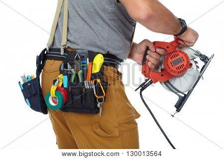 Builder handyman with electric saw.